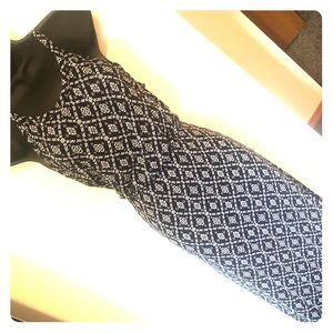 Navy print maxi dress with gathered waist